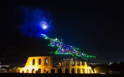 El árbol de navidad famoso de Gubbio Imágenes de archivo libres de regalías
