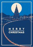 El árbol de navidad grande con la ciudad enciende el ejemplo minimalistic del vector