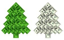 El árbol de navidad hizo el ‹del †del ‹del †de cientos billetes de banco del dólar Fotos de archivo libres de regalías