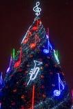 El árbol de navidad principal de Vilna Foto de archivo libre de regalías