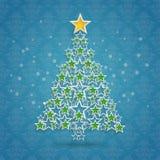 El árbol de navidad protagoniza los ornamentos azules del fondo libre illustration
