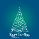 El árbol de navidad que consiste en los copos de nieve Foto de archivo libre de regalías