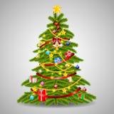 El árbol de navidad se adorna con las bolas coloridas ilustración del vector