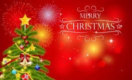 El árbol de navidad se adorna con las bolas coloridas libre illustration