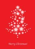 El árbol de navidad stars la tarjeta en rojo Imágenes de archivo libres de regalías