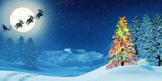 El árbol de navidad y Papá Noel en invierno iluminado por la luna ajardinan en la noche ilustración del vector