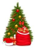 El árbol de navidad y santa empaquetan con los regalos. Vector libre illustration