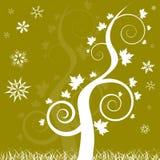 El árbol de roble del tema del invierno swirly con nieve forma escamas Imagenes de archivo