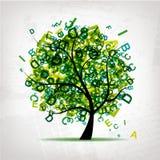 El árbol del arte con las cartas se pone verde para su diseño Imagen de archivo