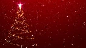 El árbol del fondo de la Navidad animó nieve que caía del fondo almacen de metraje de vídeo