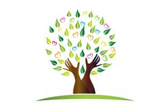 El árbol del logotipo con las manos protectoras hojea icono del símbolo de la gente del trabajo en equipo libre illustration