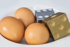 El árbol eggs con de oro y de plata corta en cuadritos Fotografía de archivo libre de regalías