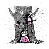 El árbol, el ángel, el hueco, el reloj, el conejito y el pájaro Fotografía de archivo