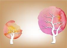 El árbol, el Libro Blanco cortó el fondo de la acuarela de los árboles, extracto, ejemplo del vector Fotos de archivo