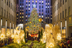 El árbol enciende el centro de Rockefeller fotografía de archivo libre de regalías