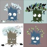 El árbol estacional cambia caracteres del vector imagen de archivo libre de regalías