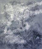 El árbol exhausto. stock de ilustración