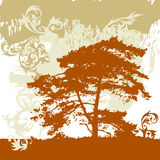 El árbol, grunge florece el ornamento ilustración del vector