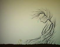 El árbol llora porque muere el pequeño brote, concepto de muerte del bosque, ahorra la idea pasada del árbol, ilustración del vector