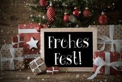 El árbol nostálgico, copos de nieve, Fest de Frohes significa Feliz Navidad imágenes de archivo libres de regalías