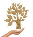 El árbol recicló el palillo del arte de papel Fotografía de archivo