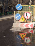 El área de los trabajos de construcción de carreteras Imágenes de archivo libres de regalías
