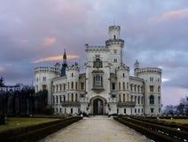 Exterior del cuento de hadas de la señal de Hluboka del castillo Imagen de archivo libre de regalías