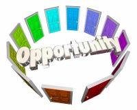 El éxito de la ocasión de la oportunidad elige puertas de la trayectoria Imagen de archivo libre de regalías