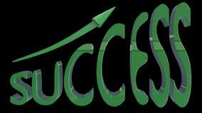 El ÉXITO escrito en 3D estilizó la fuente verde con la flecha que iba ascendente Fotos de archivo