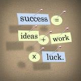 El éxito iguala ideas más trabajo por suerte Imagenes de archivo