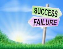 El éxito o el fracaso firma adentro el campo Foto de archivo libre de regalías
