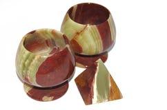 El ónix o la cáliz o el cubilete de piedra del mármol aislaron el objeto Imagen de archivo