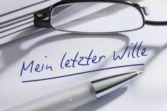 El último alemán y testamento foto de archivo libre de regalías