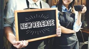 El último concepto de la actualización de la marca del nuevo lanzamiento foto de archivo libre de regalías