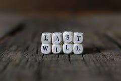 El último del concepto y testamento Imagen de archivo