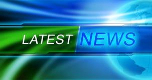 El último papel pintado del fondo de las noticias Etiqueta de las noticias de Lates en el fondo azul Fotos de archivo