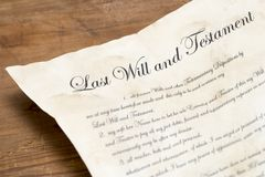 El último y testamento imagenes de archivo