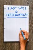 El último y testamento en el cuaderno imagen de archivo