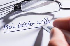 El último y testamento escrito en alemán foto de archivo libre de regalías
