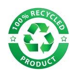 el 100% recicló la escritura de la etiqueta del producto (el vector) Imagen de archivo libre de regalías