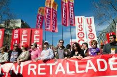 el 11M - protesta de las uniones en Barcelona Fotografía de archivo libre de regalías