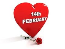 El 14 de febrero - el corazón rojo y se levantó ilustración del vector