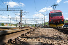 EL 18 locomotive. NSB B7 is the most abundant of the railway carriages that are included in the type 7-carts, a Norwegian passenger coach generation stemming Royalty Free Stock Image