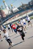 el 2 de mayo de MOSCÚ: Participantes en la acción en XVII M Foto de archivo libre de regalías
