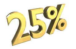 el 25 por ciento en el oro (3D) Fotos de archivo