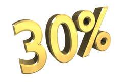 el 30 por ciento en el oro (3D) Imagen de archivo libre de regalías