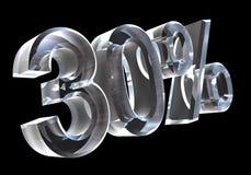 el 30 por ciento en el vidrio (3D) Foto de archivo libre de regalías