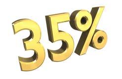 el 35 por ciento en el oro (3D) Imagen de archivo libre de regalías