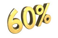 el 60 por ciento en el oro (3D) Fotografía de archivo libre de regalías
