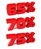 el 65%, el 70%, el 75%. Símbolos del descuento. Imágenes de archivo libres de regalías